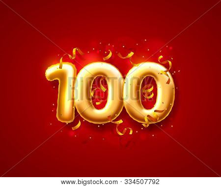 Festive Ceremony Balloons, 100th Numbers Balloons. Vector