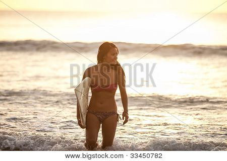 Young Woman In The Surf