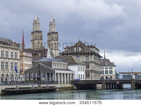 Grossmunster. Romanesque Cathedral In Zurich. View Of The Grossmunster. Zurich Architecture. Lake Zu