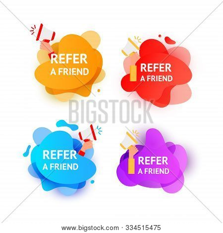 Business Refer Friend Icon Set. Hand Holding Megaphone With Referral Program Speech Bubbles. Referra