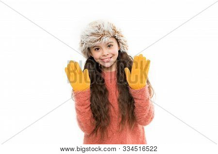 Playful Fashionista. Child Long Hair Soft Fur Hat Enjoy Softness. Soft Care Concept. Faux Fur Trend.