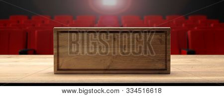 Blank Wooden Sign On A Wooden Stage, Blur Theater Background. 3D Illustration