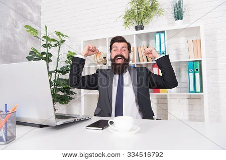 Enjoying Success. Happy Manger Celebrate Success In Office. Bearded Man Being Excited About Success.
