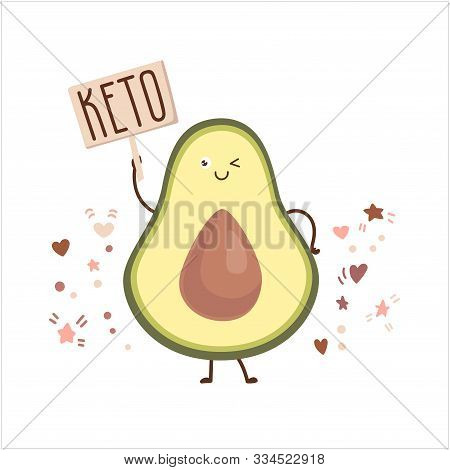Kawaii Vector Illustration Of A Blinking Avocado With A Keto Plate. Smiling Fruit Character In The F