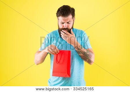 Little Pleasantness. Bearded Man Go Shopping. Mall For Men . Mature Male Beard With Fashion Purchase