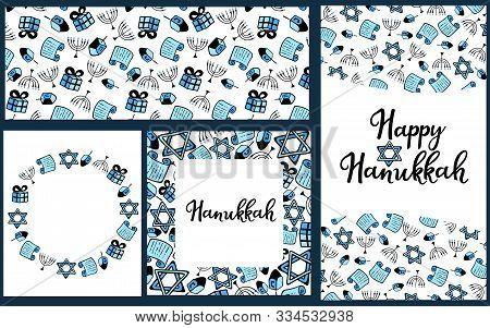 Set Of Chanukah Traditional Attributes Of The Menorah, Dreidel, Torah In Doodle Style. Round Frame,