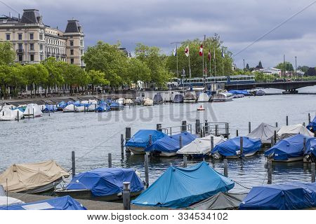 Zurich, Switzerland - May 10, 2018: Quay Of Zurich. Pier In Zurich. Boats On Lake Zurich