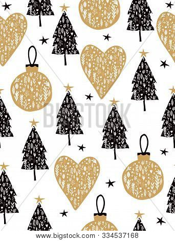 Lovely Christmas Tree Seamless Vector Pattern. Christmas Tree Vector Print. Black Trees, Gold Hearts