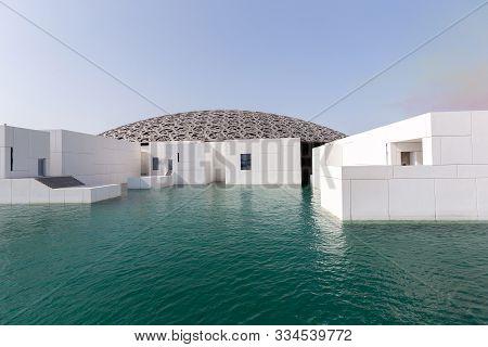 Abu Dhabi, Uae - November 9, 2019: Famous Building Of Louvre Museum In Abu Dhabi, Uae