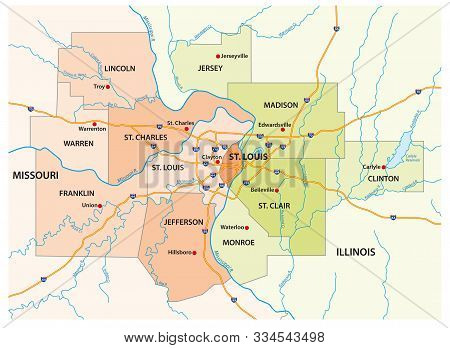 Map Of The Greater St. Louis Area In Illinois And Missouri, Usa