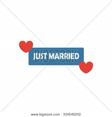 Just Married Sign Icon. Simple Flat Element From Honeymoon Collection. Creative Just Married Sign Ic