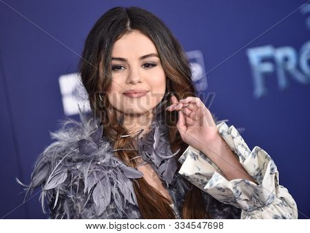 LOS ANGELES - NOV 07:  Selena Gomez arrives for the 'Frozen II' Premiere on November 07, 2019 in Hollywood, CA
