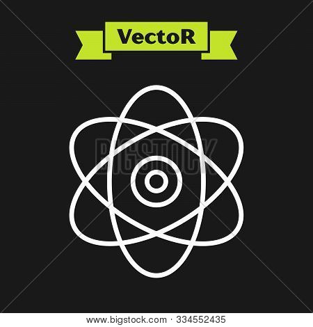White Line Atom Icon Isolated On Black Background. Symbol Of Science, Education, Nuclear Physics, Sc