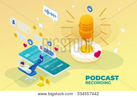 Isometric Podcast Recording And Digital Sound Wave Concept. Musical Melody Design. Soundwave Audio M