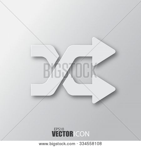 Intersection Arrow Icon In White Style With Shadow Isolated On Grey Background.