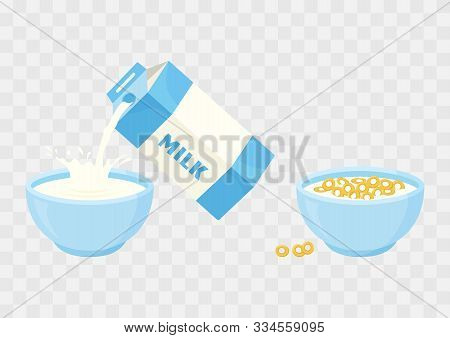 Breakfast. Cereal Loops. Ceramic Bowl With Milk And Sweet Crunchy Flakes On Transparent Background.