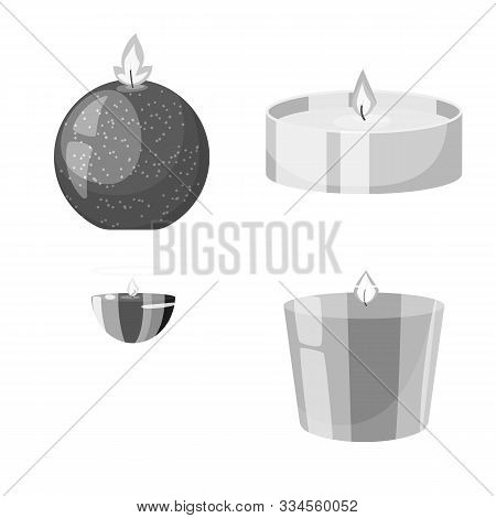 Isolated Object Of Paraffin And Fire Logo. Set Of Paraffin And Decoration Stock Symbol For Web.