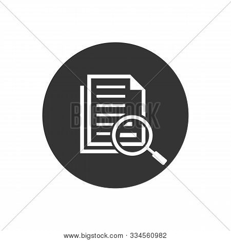 Scrutiny Document Plan Icon In Flat Style. Review Statement Vector Illustration On Gray Isolated Bac
