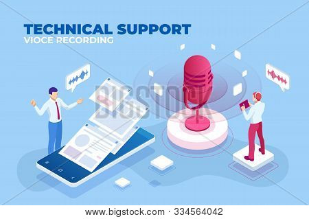 Isometric Technical Support Vioce Recording And Digital Sound Wave Concept. Musical Melody Design. S