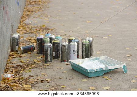 Kharkov, Ukraine - October 19, 2019: Montana Mtn 94 Black Hardcore Dope And Kobra Used Spray Cans Fo