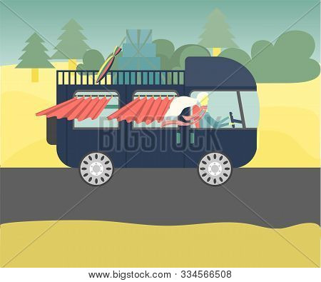 Vintage Campervan Driving By Happy Women On Road