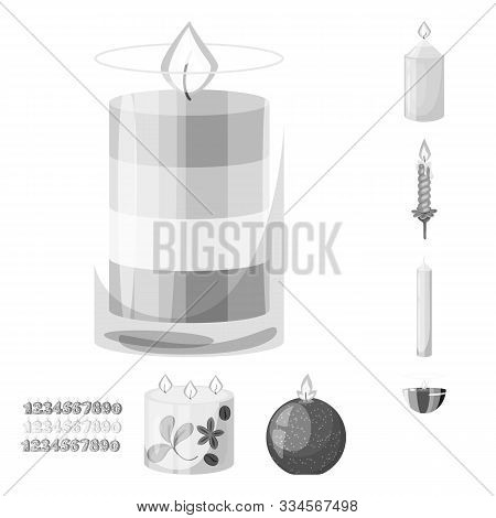 Isolated Object Of Paraffin And Fire Symbol. Set Of Paraffin And Decoration Stock Symbol For Web.