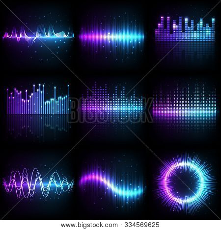 Sound Wave, Music Audio Equalizer With Frequency Pattern, Vector Different Shapes. Abstract Music So
