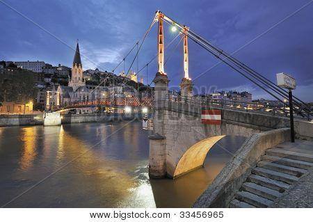 Lyon and bridge over river saone, france