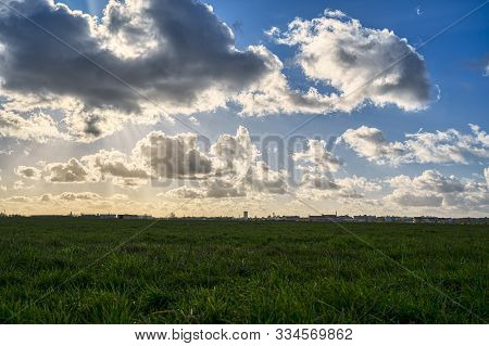 Meadow With Skyline And Cloudscape For Backgrounds
