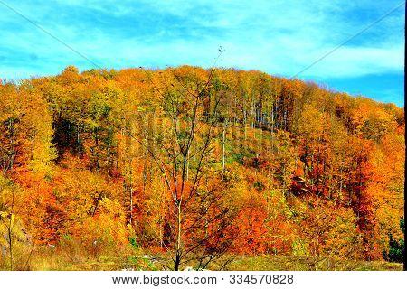 Landscape From The Mining Railway Oravita-anina, In Banat, Transylvania, Romania, In A Sunny Day, In