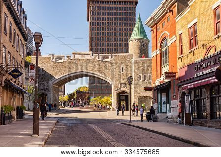 Quebec City, Canada - 5 October 2019: Porte St. Jean (st John Gate) Is Part Of The Ramparts Of Quebe