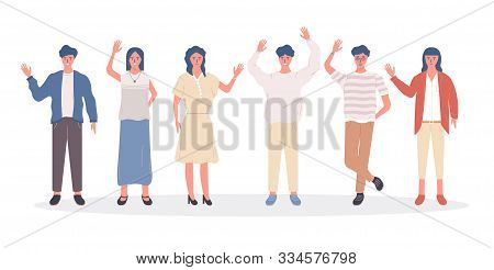 Collection Of Joyful People Greet And Wave Their Hand. Happy And Young Character Isolated On White B