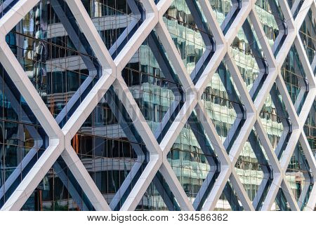 Reflection In The Glass Facade Of A Highrise  Office Building - Sydney, Nsw, Australia