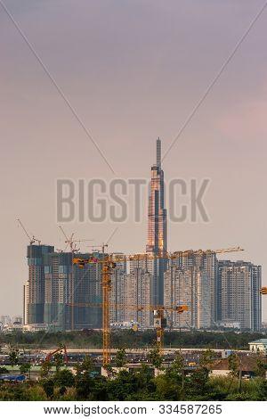 Ho Chi Minh City, Vietnam - March 12, 2019: Sunset Sky Over Landmark 81 Tallest Skyscraper With In F