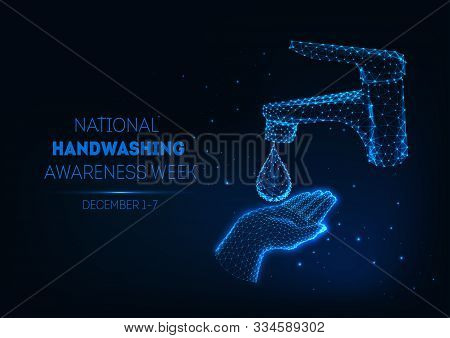 Futuristic Handwashing Banner With Glowing Low Polygonal Human Hand, Water Drop And Bathroom Faucet.