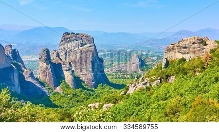 Panoramic view of the rocks in Meteora and Thessaly valley in Greece -  Greek landscape