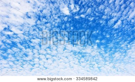 Panorama of the blue sky with lots small white fleecy clouds - texture and background