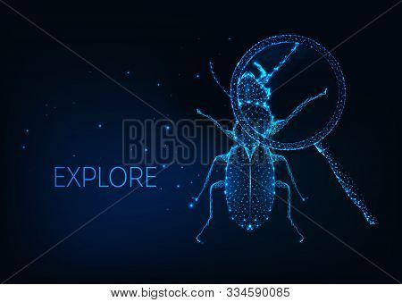 Futuristic Science Project Exploration, Curiosity Concept With Insect Bug Under Magnifying Glass