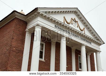Bennington, Vermont - October 1st, 2019:  Exterior Of Bennington County Courthouse In The New Englan