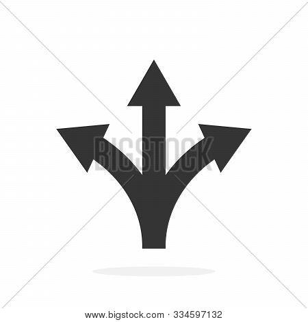 Three-way Direction Arrow - Vector. Road Direction Icon Isolated. Black Vector Arrow