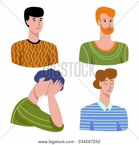 Vector Illustration With Set Negative Emotions In Men Sadness, Longing, Suffering, Shame, Disappoint