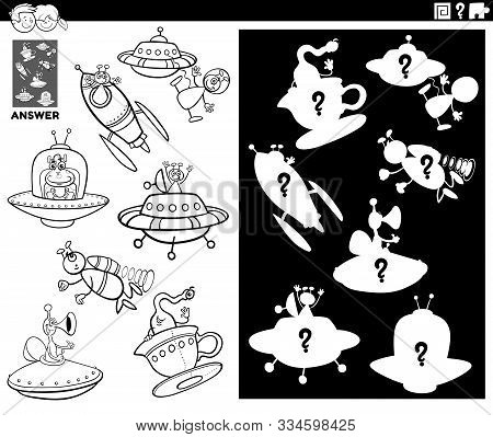 Black And White Cartoon Illustration Of Match Objects And The Right Shape Or Silhouette With Ufo And