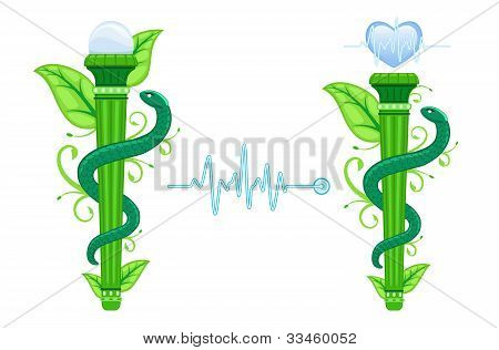 Alternative Medicine Symbol - The Green Asklepian