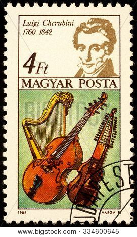 Moscow, Russia - November 19, 2019: Stamp Printed In Hungary Shows Luigi Cherubini (1760-1842), Ital