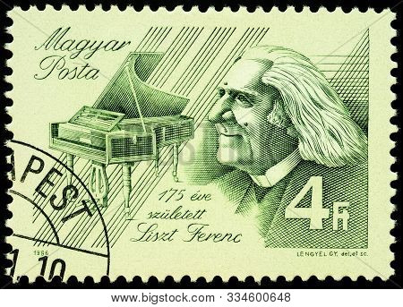Moscow, Russia - November 19, 2019: Stamp Printed In Hungary Shows Ferenc Liszt (1811-1886), Hungari
