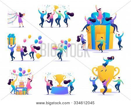 Set Of Concepts Of Celebrating The People, To Celebrate A Birthday, Celebrate A Party, Enjoy The Vic