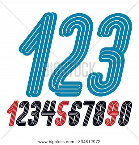 Set Of Vector Funky Condensed Numbers Created With Parallel Lines, For Use As Retro Poster Design El