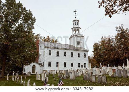Bennington, Vermont - October 1st, 2019:  Bennington Centre Cemetery On A Cold Fall Day With Old Fir