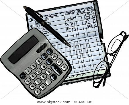 Checkbook, Calculator and Glasses Illustration