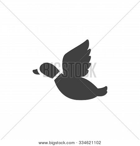 Flying Duck, Hunting Vector Icon. Filled Flat Sign For Mobile Concept And Web Design. Mallard Duck I